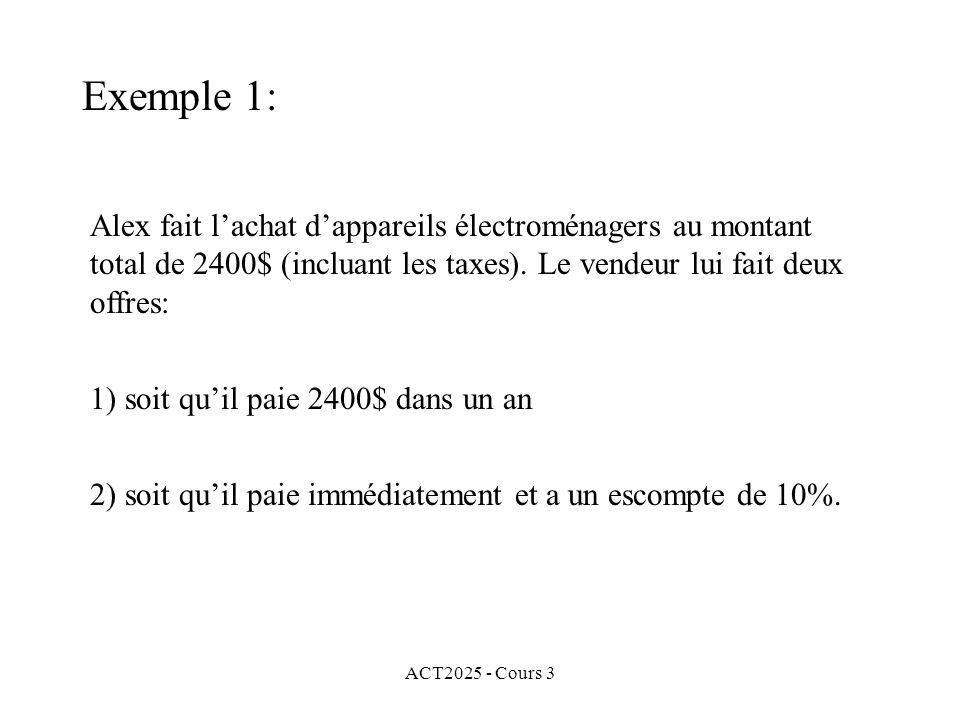 Exemple 1: Alex fait l'achat d'appareils électroménagers au montant total de 2400$ (incluant les taxes). Le vendeur lui fait deux offres:
