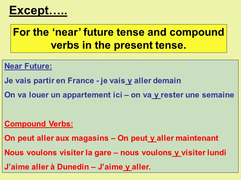 For the 'near' future tense and compound verbs in the present tense.