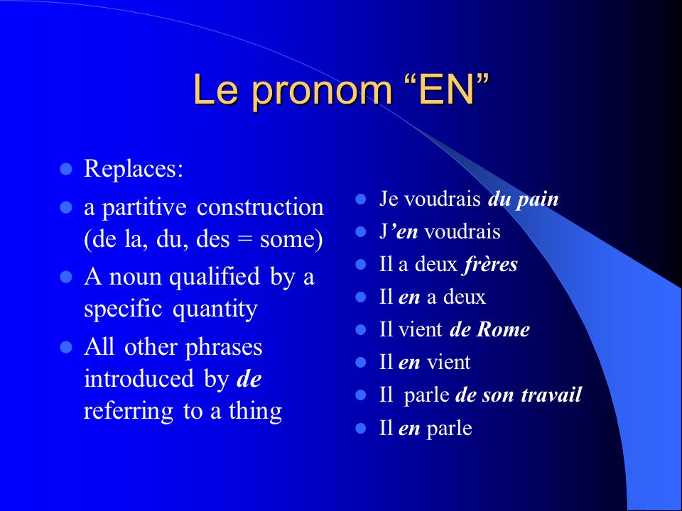 Le pronom EN Replaces: