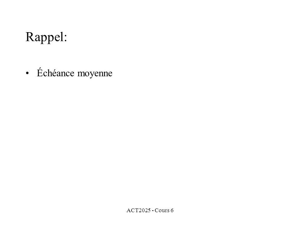 Rappel: Échéance moyenne ACT2025 - Cours 6