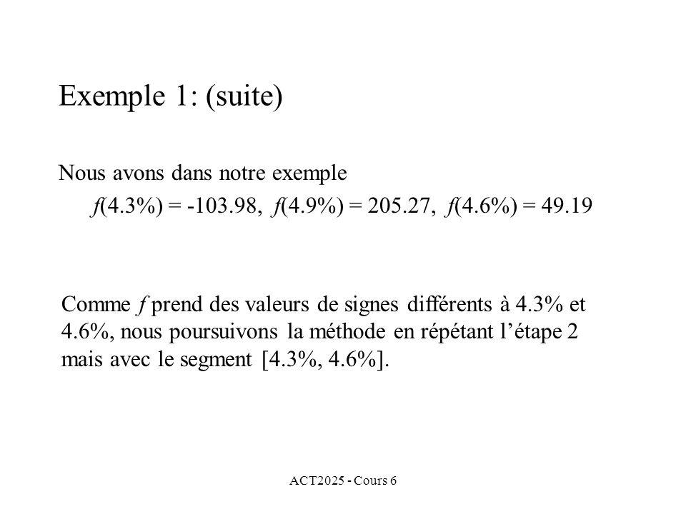 Exemple 1: (suite) Nous avons dans notre exemple
