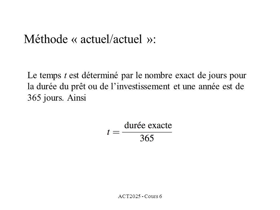 Méthode « actuel/actuel »: