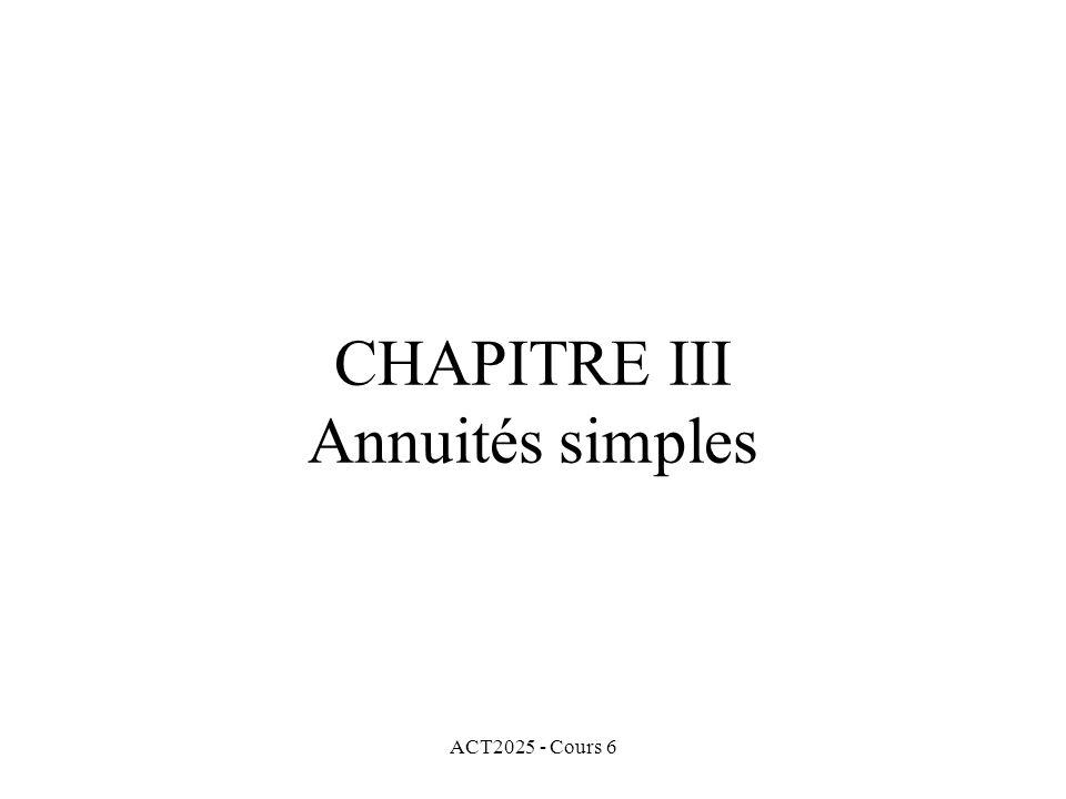 CHAPITRE III Annuités simples