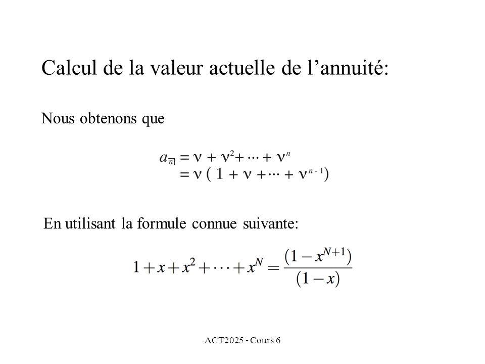 Calcul de la valeur actuelle de l'annuité: