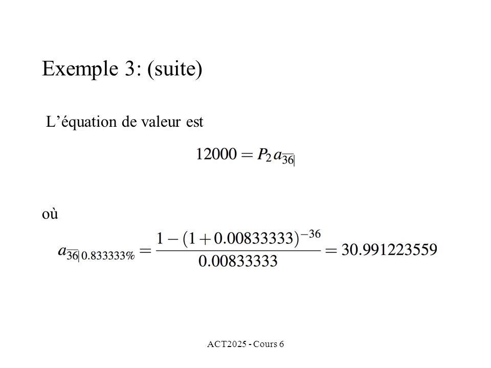 L'équation de valeur est