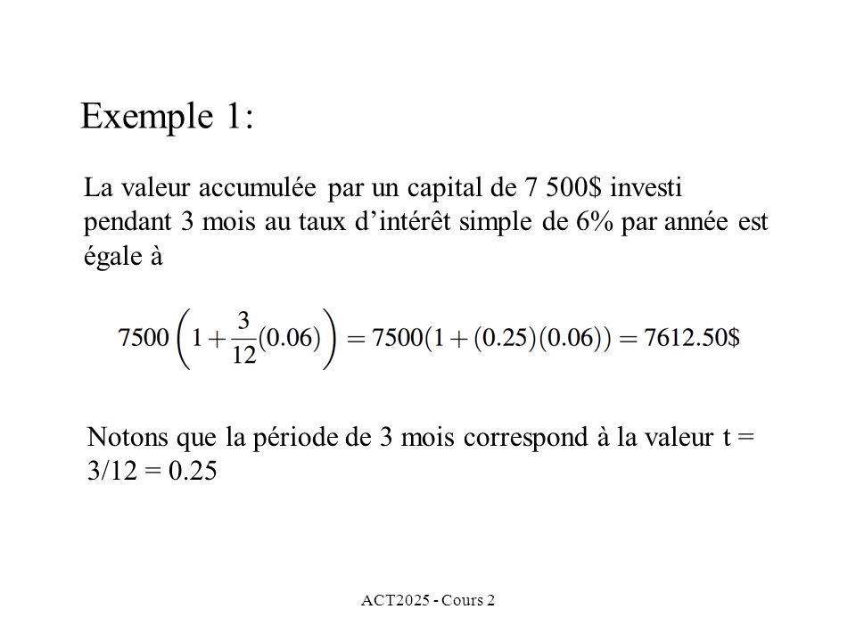 Exemple 1: La valeur accumulée par un capital de 7 500$ investi pendant 3 mois au taux d'intérêt simple de 6% par année est égale à.