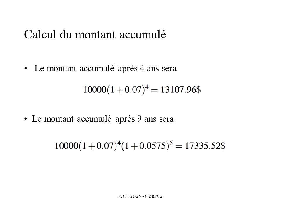Calcul du montant accumulé