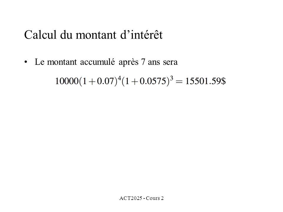 Calcul du montant d'intérêt