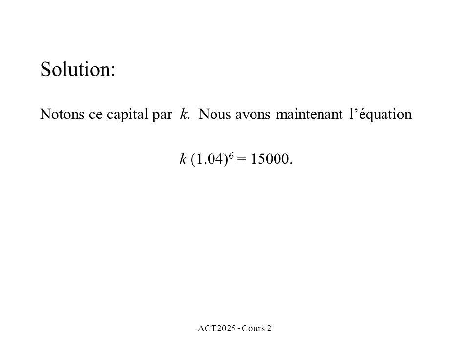 Solution: Notons ce capital par k. Nous avons maintenant l'équation