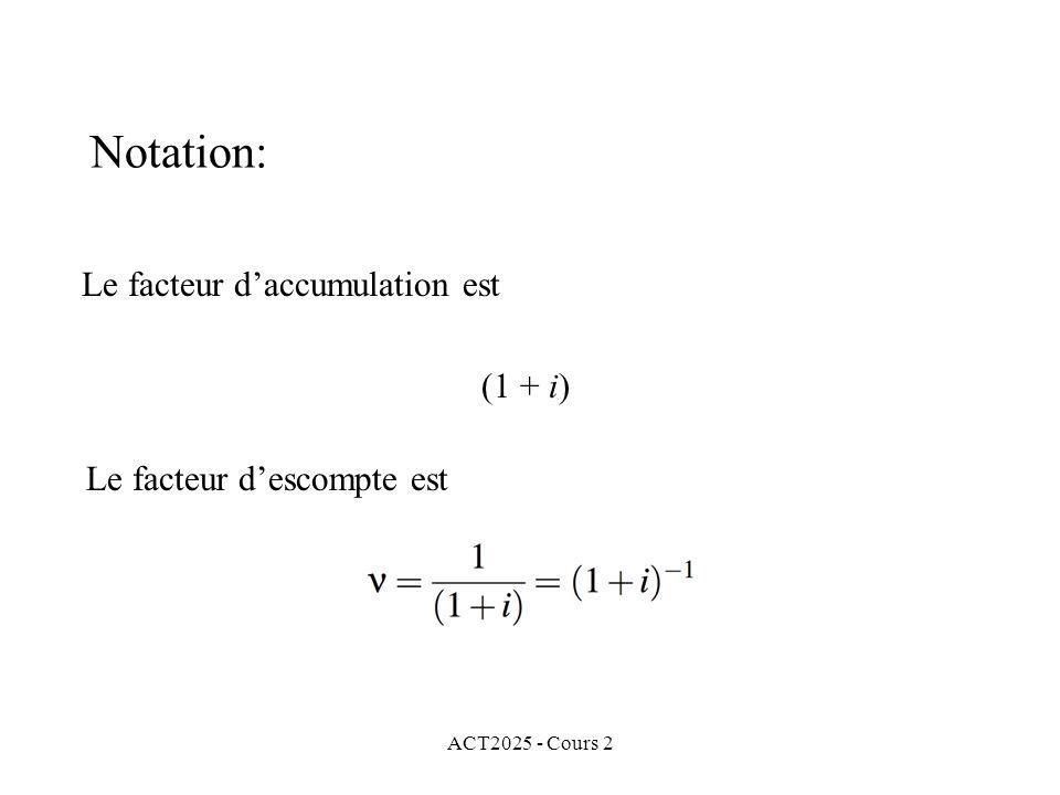 Le facteur d'accumulation est (1 + i)