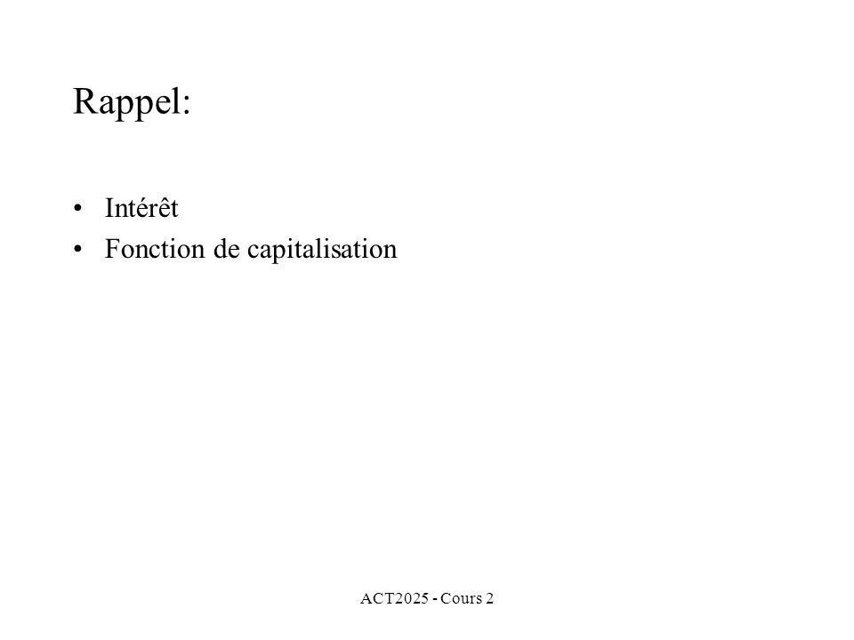 Rappel: Intérêt Fonction de capitalisation ACT2025 - Cours 2