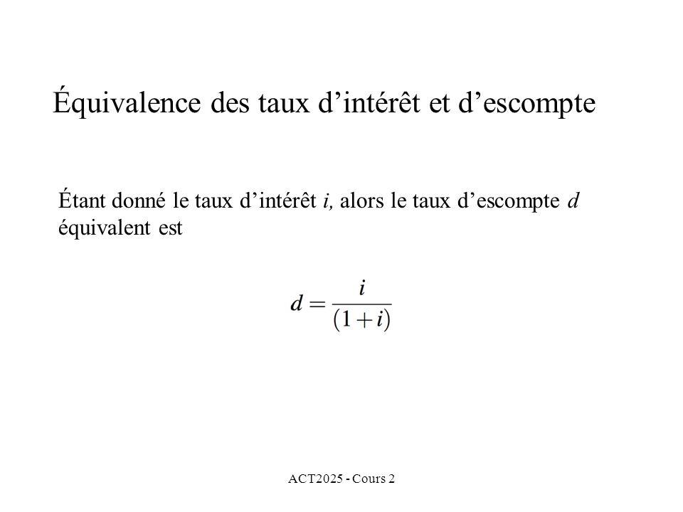 Équivalence des taux d'intérêt et d'escompte