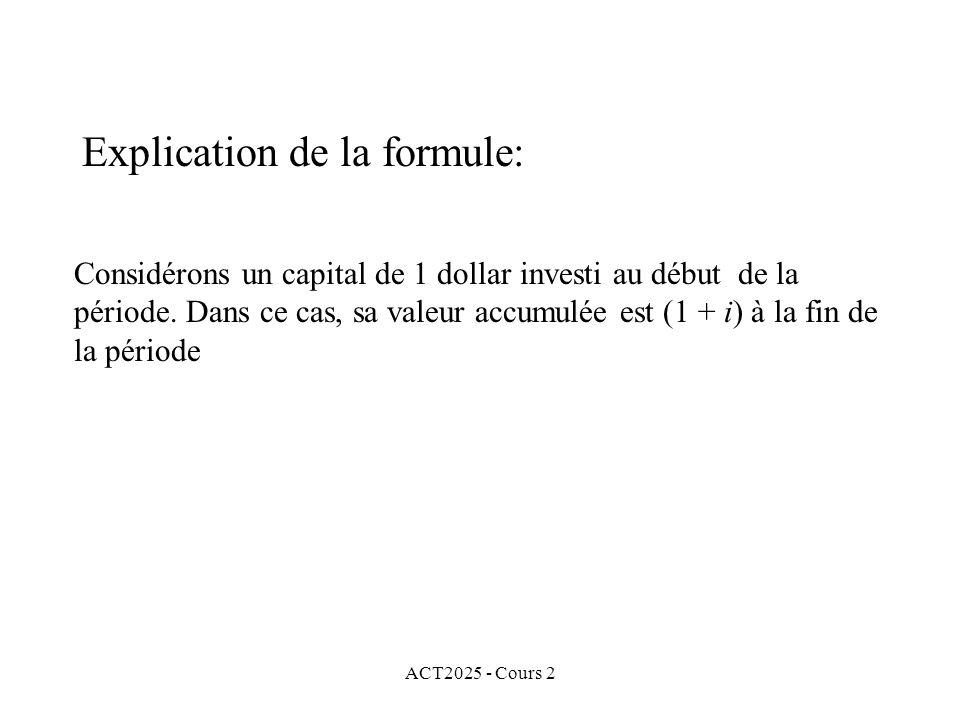 Explication de la formule: