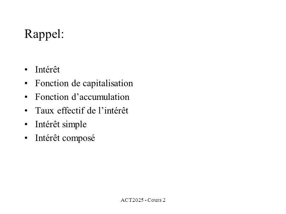 Rappel: Intérêt Fonction de capitalisation Fonction d'accumulation