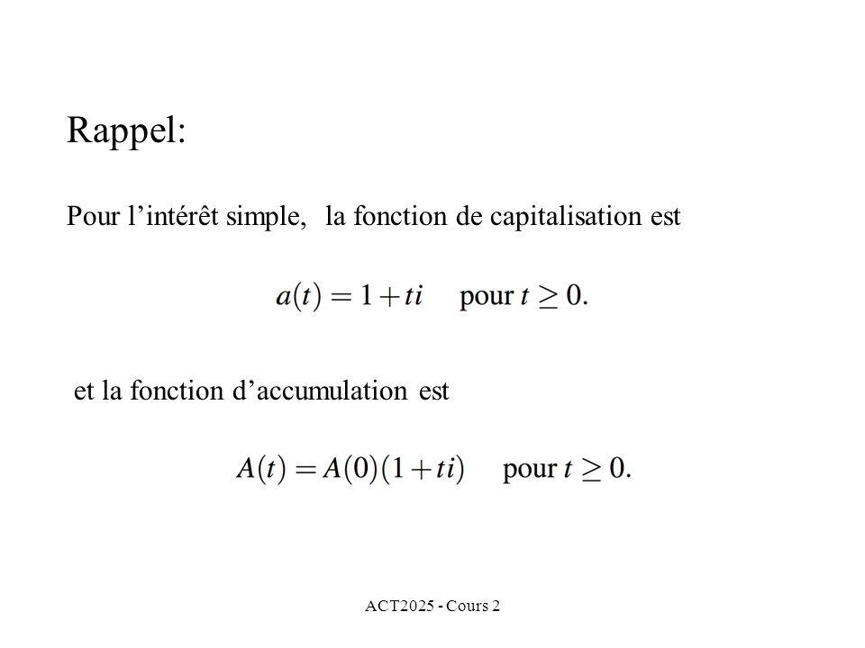 Rappel: Pour l'intérêt simple, la fonction de capitalisation est