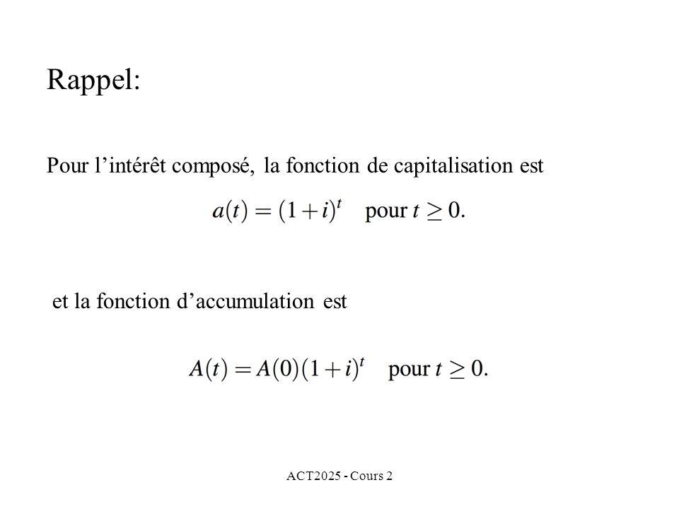 Rappel: Pour l'intérêt composé, la fonction de capitalisation est