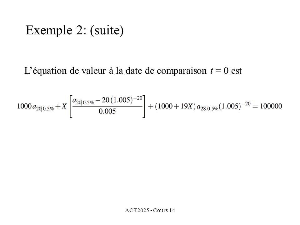 Exemple 2: (suite) L'équation de valeur à la date de comparaison t = 0 est ACT2025 - Cours 14