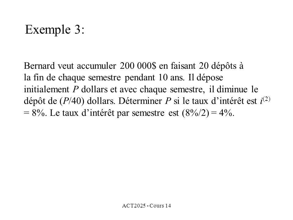 Exemple 3: Bernard veut accumuler 200 000$ en faisant 20 dépôts à
