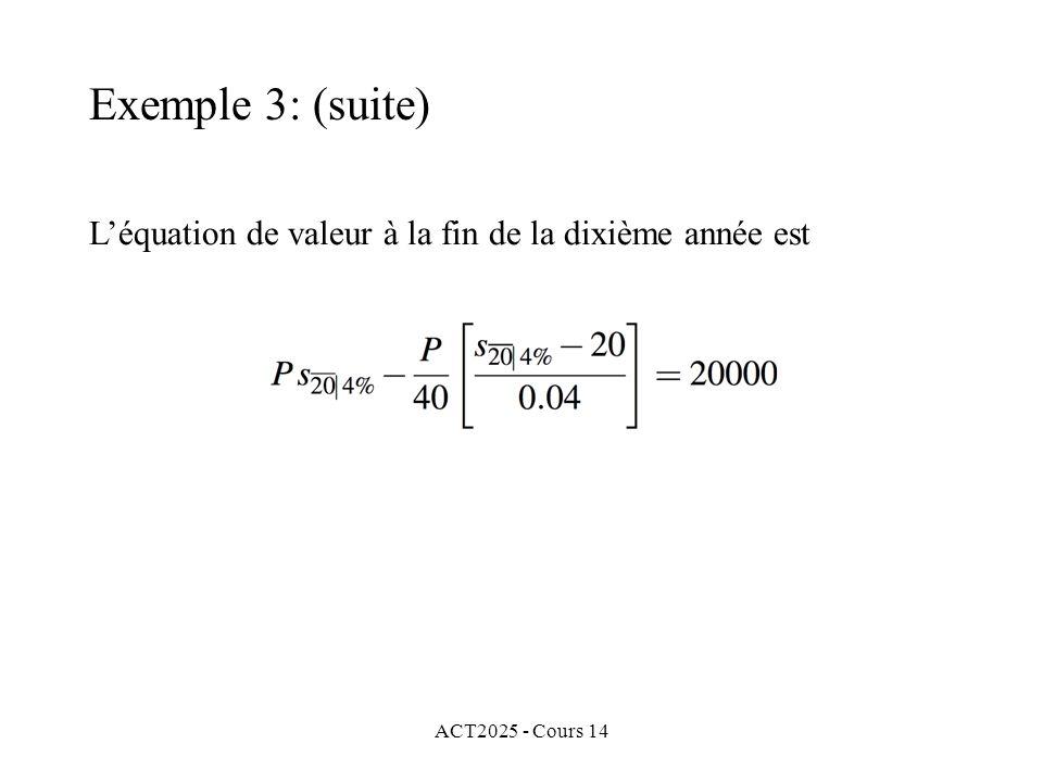 Exemple 3: (suite) L'équation de valeur à la fin de la dixième année est ACT2025 - Cours 14