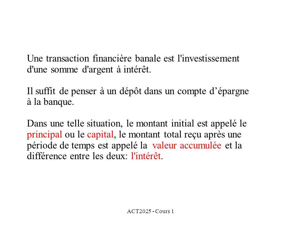 Une transaction financière banale est l investissement d une somme d argent à intérêt. Il suffit de penser à un dépôt dans un compte d'épargne à la banque. Dans une telle situation, le montant initial est appelé le principal ou le capital, le montant total reçu après une période de temps est appelé la valeur accumulée et la différence entre les deux: l intérêt.