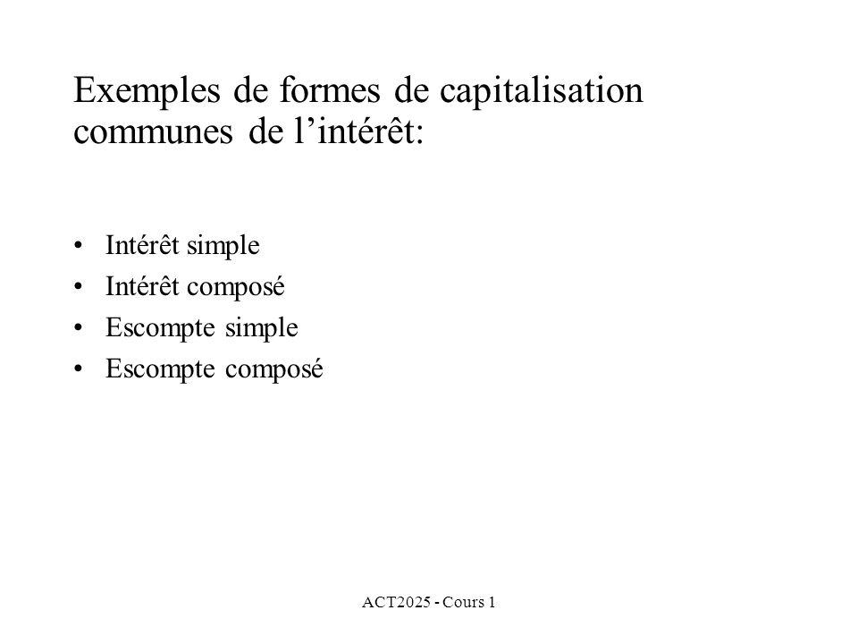 Exemples de formes de capitalisation communes de l'intérêt: