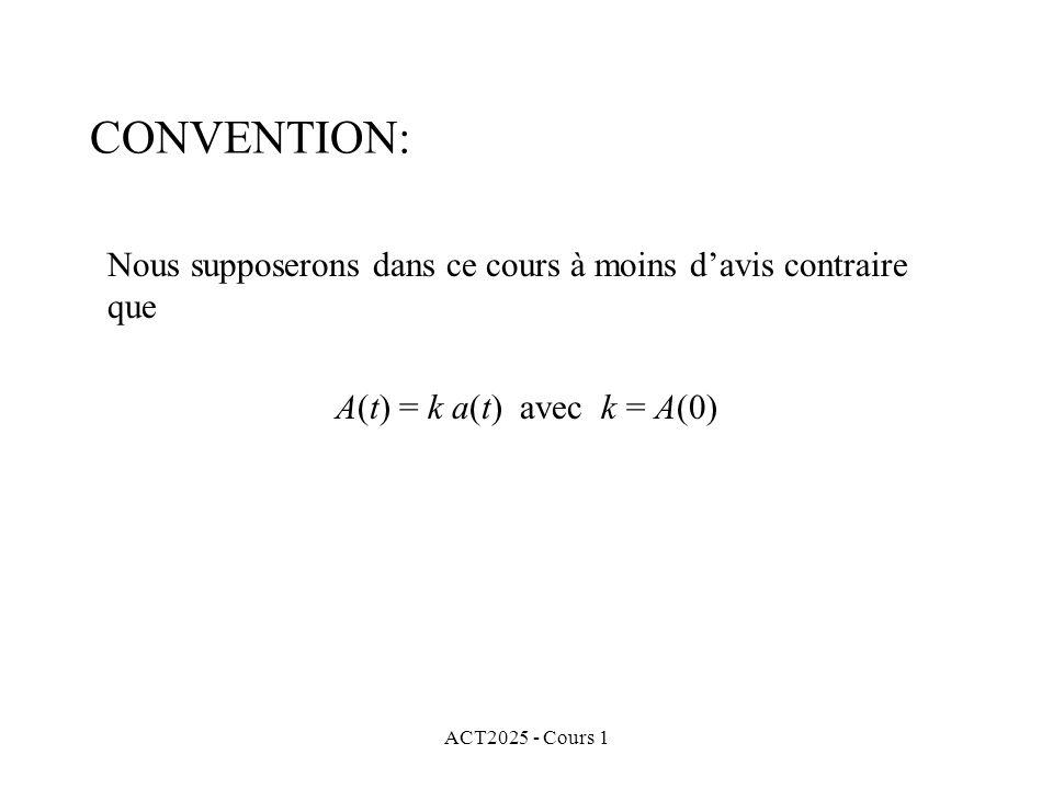 CONVENTION: Nous supposerons dans ce cours à moins d'avis contraire que. A(t) = k a(t) avec k = A(0)