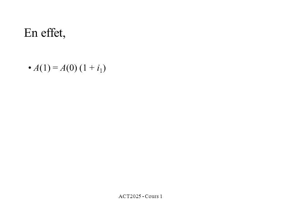 En effet, A(1) = A(0) (1 + i1) ACT2025 - Cours 1