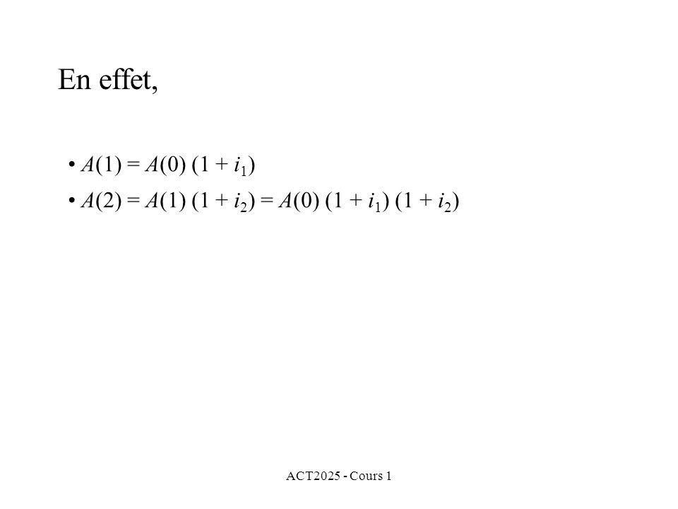 En effet, A(1) = A(0) (1 + i1) A(2) = A(1) (1 + i2) = A(0) (1 + i1) (1 + i2) ACT2025 - Cours 1