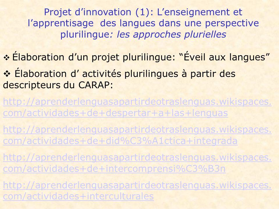 Projet d'innovation (1): L'enseignement et l'apprentisage des langues dans une perspective plurilingue: les approches plurielles