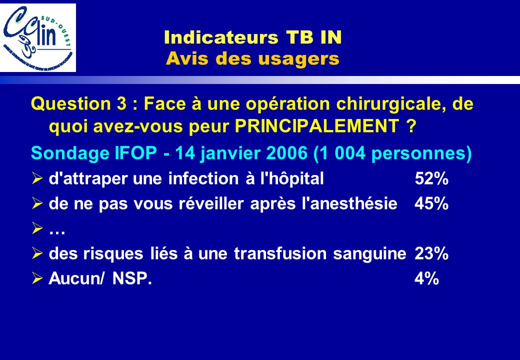 Indicateurs TB IN Avis des usagers