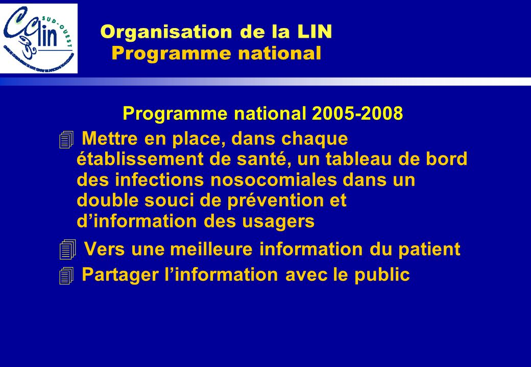 Organisation de la LIN Programme national