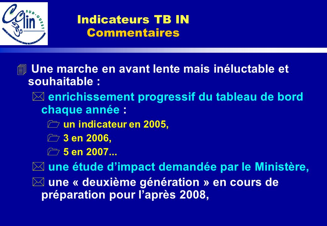 Indicateurs TB IN Commentaires