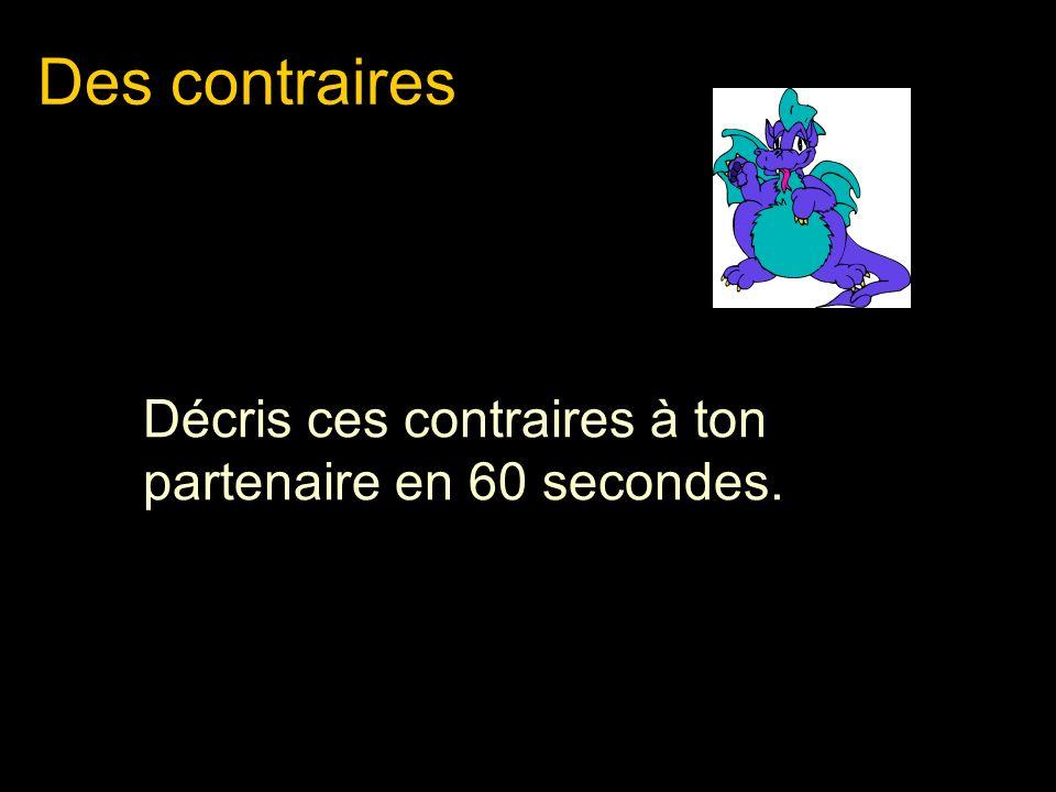 Des contraires Décris ces contraires à ton partenaire en 60 secondes.
