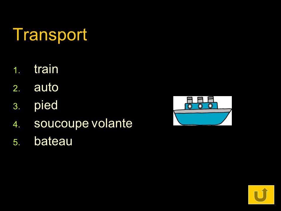 Transport train auto pied soucoupe volante bateau