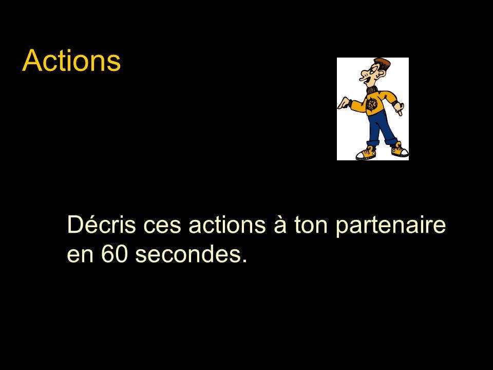 Actions Décris ces actions à ton partenaire en 60 secondes.