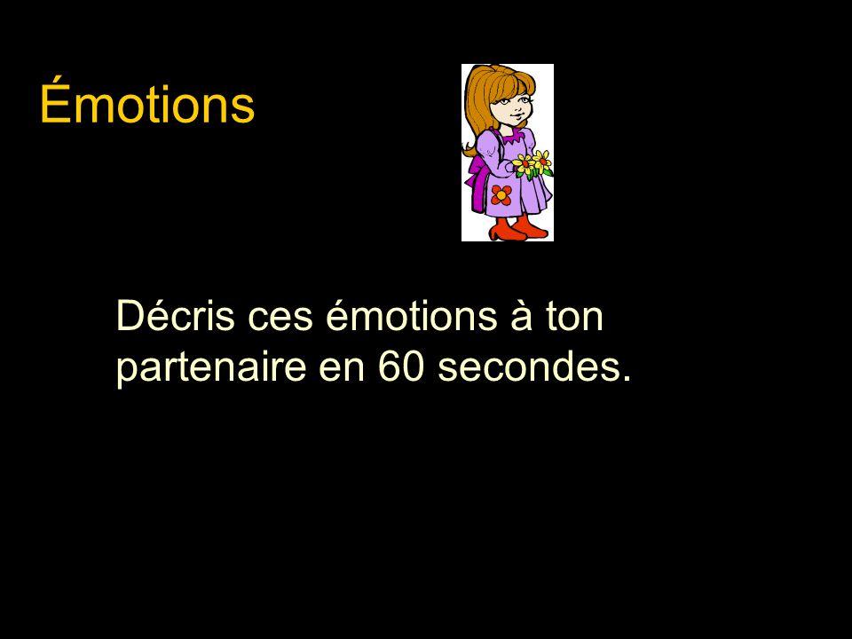 Émotions Décris ces émotions à ton partenaire en 60 secondes.