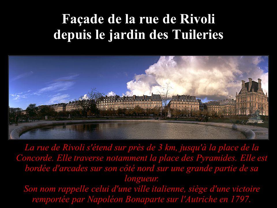 Façade de la rue de Rivoli depuis le jardin des Tuileries