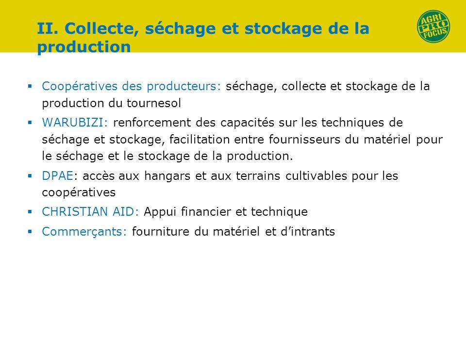 II. Collecte, séchage et stockage de la production