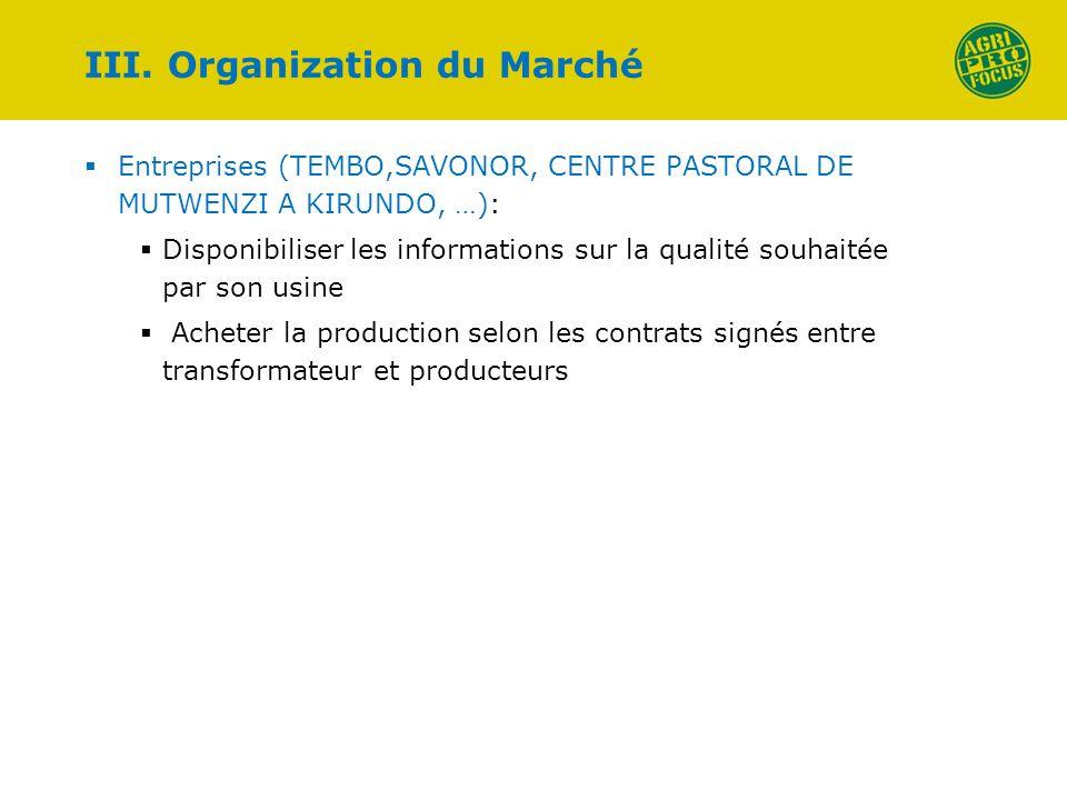 III. Organization du Marché