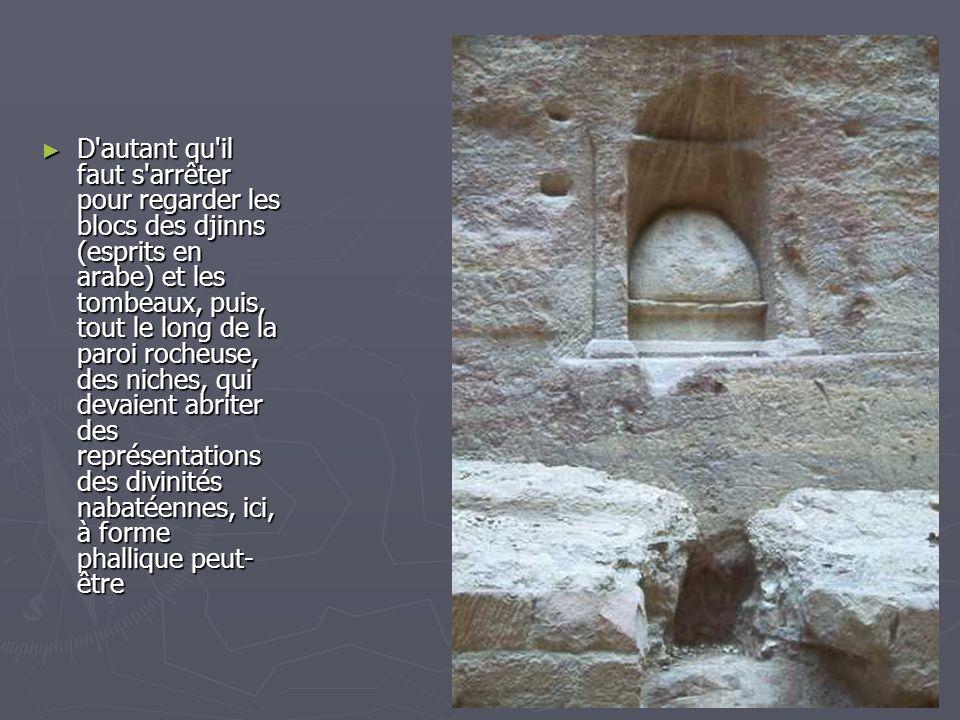 D autant qu il faut s arrêter pour regarder les blocs des djinns (esprits en arabe) et les tombeaux, puis, tout le long de la paroi rocheuse, des niches, qui devaient abriter des représentations des divinités nabatéennes, ici, à forme phallique peut-être