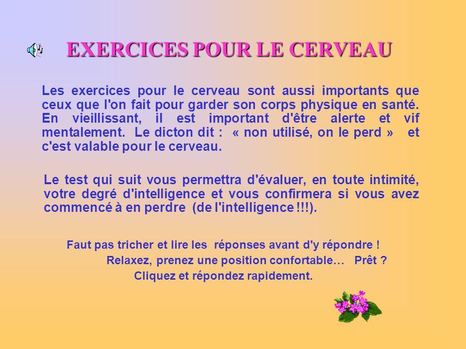 EXERCICES POUR LE CERVEAU