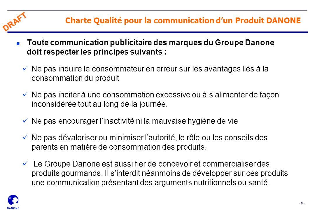 Charte Qualité pour la communication d'un Produit DANONE