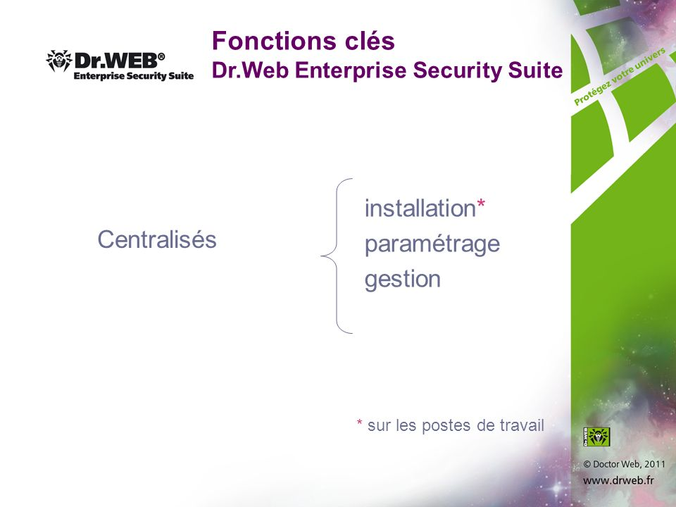 Fonctions clés Dr.Web Enterprise Security Suite