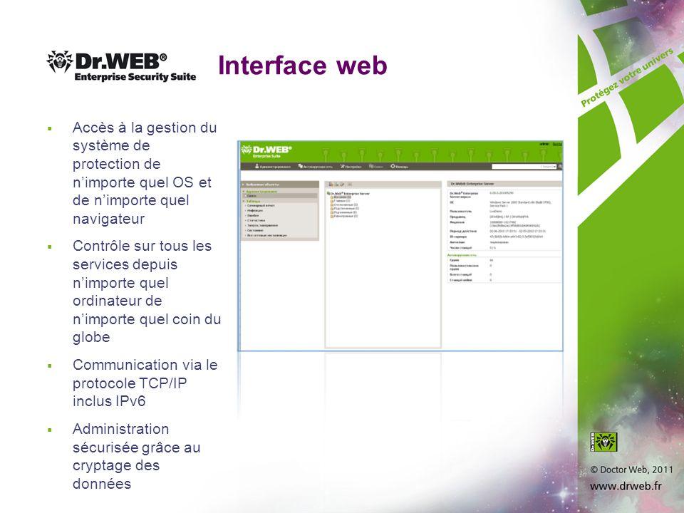 Interface web Accès à la gestion du système de protection de n'importe quel OS et de n'importe quel navigateur.