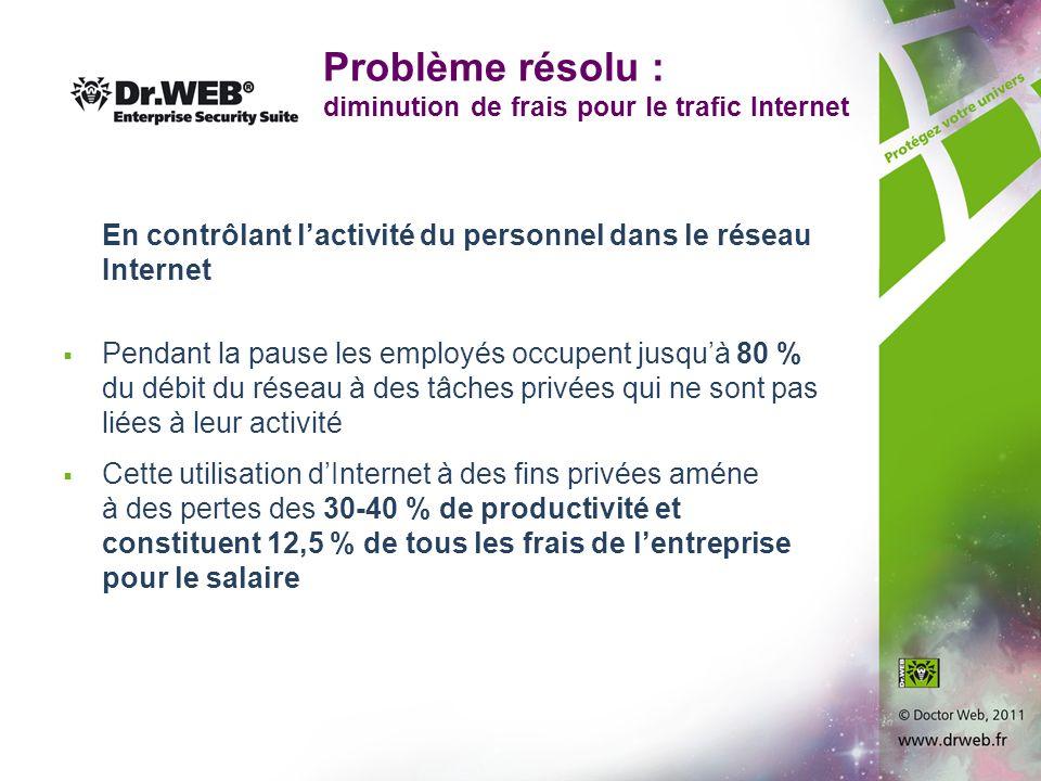 Problème résolu : diminution de frais pour le trafic Internet