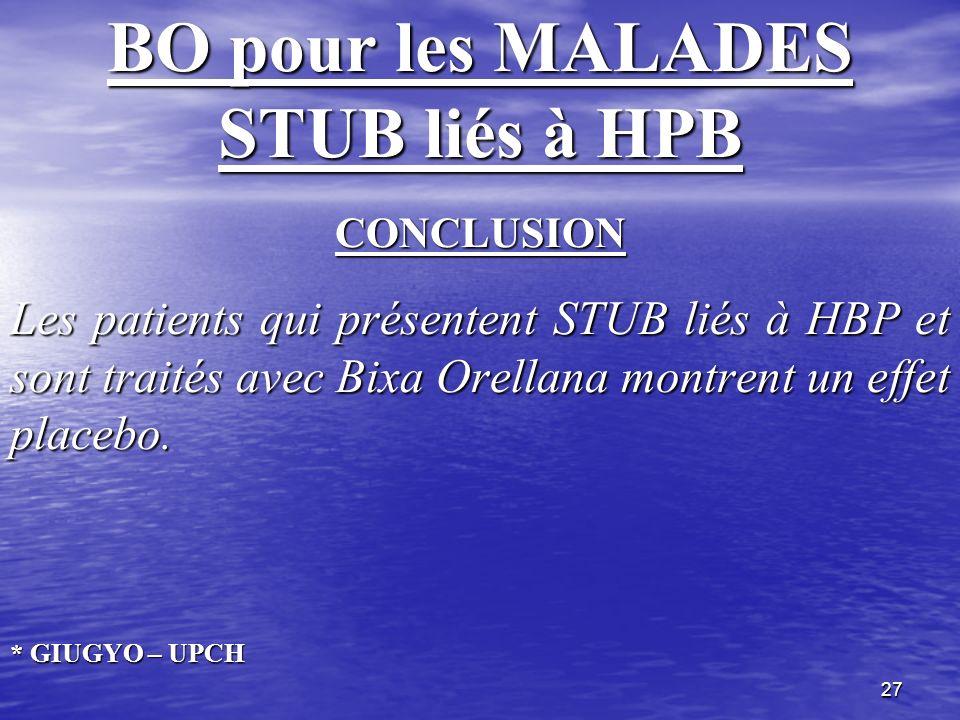 BO pour les MALADES STUB liés à HPB