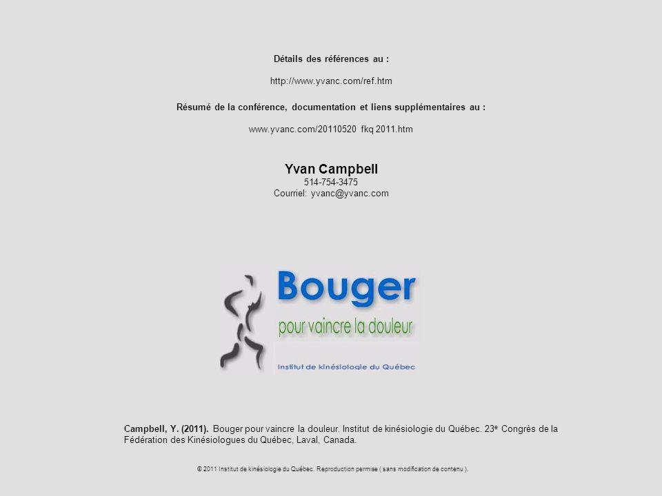 Yvan Campbell Détails des références au : http://www.yvanc.com/ref.htm