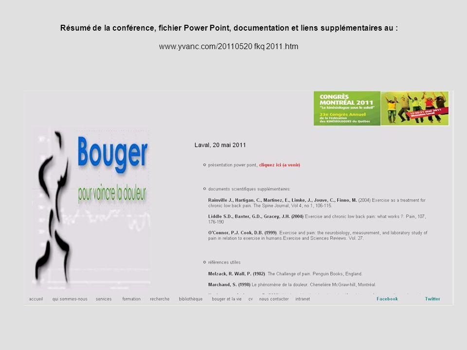 Résumé de la conférence, fichier Power Point, documentation et liens supplémentaires au :
