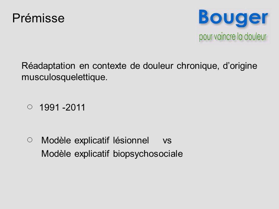 Prémisse Réadaptation en contexte de douleur chronique, d'origine musculosquelettique. 1991 -2011.