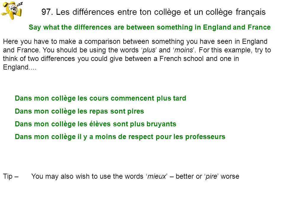 97. Les différences entre ton collège et un collège français